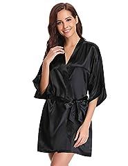 Idea Regalo - Aibrou Donna Pigiama Kimono, Scollo V Elegante Vestaglia Corta in Raso, Camicia da Notte con Cintura