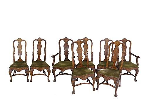 8 Stühle Stuhlgruppe Esszimmerstühle Antik um 1880 Nussbaum mit Polster (6454)