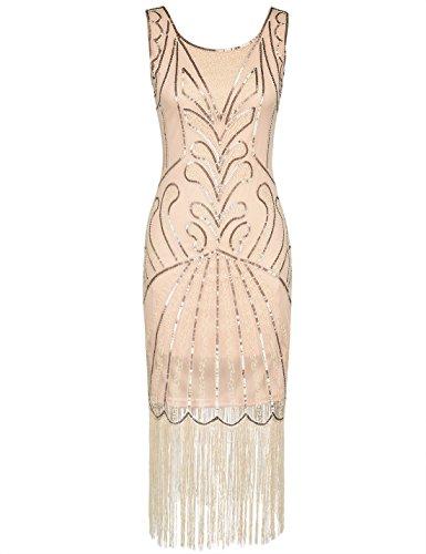 PrettyGuide Damen 1920er Vintage Charleston Art Deco Inspiriet Gatsby Kleid S (Kleid Halloween Flapper)
