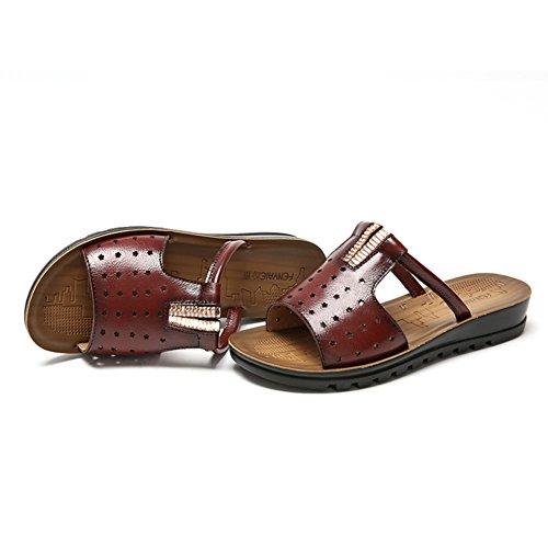 Antiscivolo inferiore molle sandali di cuoio femminili/ sandali estate all'aperto/ Piatto con sandali piatti A
