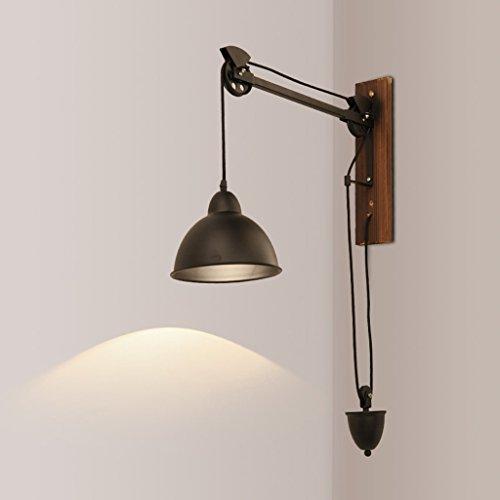 Applique Lampe de mur de poulie rétro de fer, lampe industrielle de chevet de café de café industriel de corde de vent A+