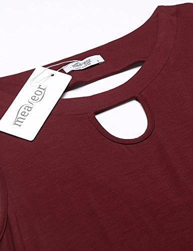 Meaneor Damen Strandkleid Sommerkleid Shirtkleid Longshirt mit Fransen Casual Knielang Gr.S-XXL A Weinrot