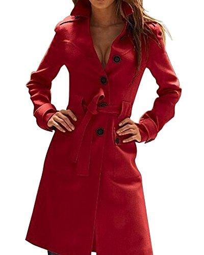 SaiDeng Donna Slim Fit Giacca Trench Coat Monopetto Lungo Colori Solidi Rosso XL