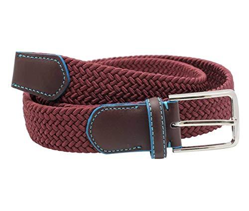 FUREIN Cinturón Elástico Trenzado para Hombre y Mujer Unisex con Hebilla Clásica (Granate, L 113cm)