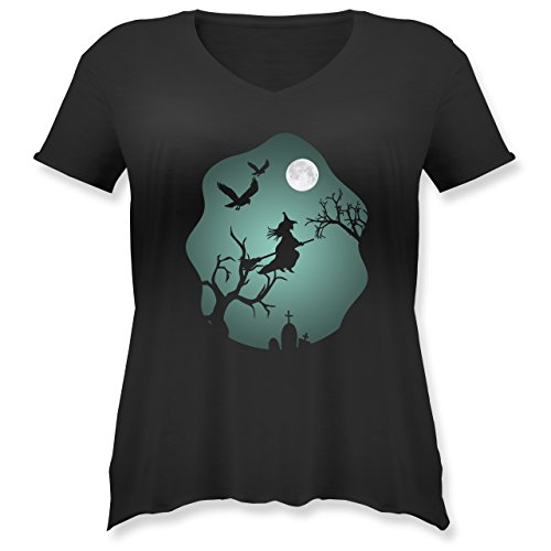 Halloween - Hexe Mond Grusel Grün - L (48) - Schwarz - JHK603 - Weit Geschnittenes Damen Shirt in großen Größen mit V-Ausschnitt