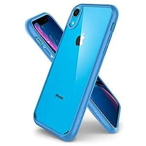 Spigen Coque iPhone XR [Ultra Hybrid] Bumper Bleu Souple, Dos Transparent Rigide, Transparence
