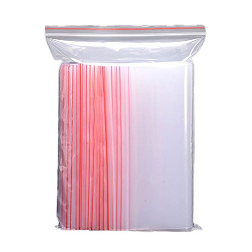 100 bolsas transparentes de plástico con cierre de cremallera para al