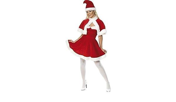 Donna Miss signora Babbo Natale costume con mantello e cappello taglia M 12  - 14  Amazon.it  Giochi e giocattoli 5000ab8fb9c