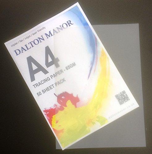 DALTON MANOR A4 TRACING Paper Choice of 25/50/100 & 250 Sheets Packs