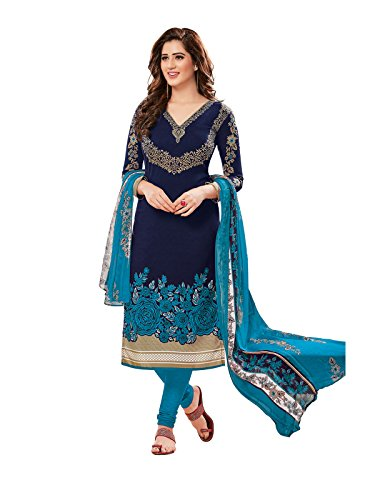 PShopee Navy Blue Sky Blue Printed Synthetic Unstitched Semi Patiala Salwar Suit...