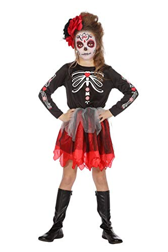 Wilbers Tag der Toten Kostüm Kinder Mädchen Dia Muertos Halloween Day of Dead 128-164 Schwarz/Rot/Weiß 140 (9-10 Jahre)