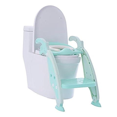 HTTMYY Kinder Toilette Toilettenleiter Faltbar Rutschfest Tragbar GemüTlich Einstellbar , green