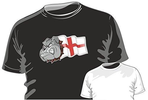 Flagge Britische Shirt T (Britisch Bulldogge Design mit St. Georges Kreuz England Englisch Flagge Motiv t - shirt top t-shirt by CTD - Schwarz, Herren, M - 96- 101cm Brustumfang)