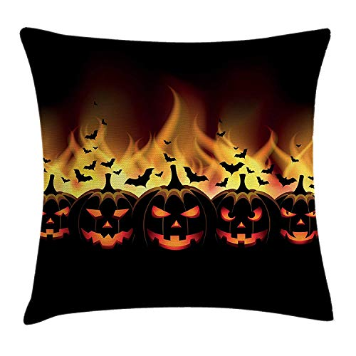 Trsdshorts Vintage Halloween Throw Pillow Cushion Cover, Happy Halloween Image with Jack o Lanterns on Fire with Bats Holiday, Decorative Square Accent Pillow Case, 18 X 18 inches, Black Scarlet