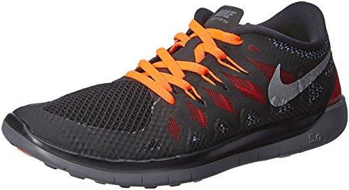 Nike Free 5.0 (GS) Jungen Laufschuhe Schwarz (Black/Metallic Silver-Dark Grey-Gym Red 006)