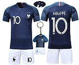 VOOA Maillots de Football de France Soccer Jersey 2018 Coupe du Monde France 2 Étoiles Football T-Shirt et Short (Bleu 10 Mbappe, M)
