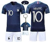 ❤ VOOA Homme T-shirt de Maillots de Football de France Soccer Jersey 2018 2 étoiles  - Genre applicable: Neutre / Mâle  - Nom de tissu: Polyester 100% - Tailles: S, M, L, XL - Contenu du colis: 1 x T-shirt +1 x Shorts + 1 x Porte-Clés maillot ♦ Taill...