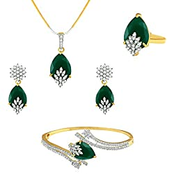 YouBella Signature Collection American Diamond Combo of Pendant Set / Necklace Set with Earrings, Bracelet and Ring for Girls and Women (Green)