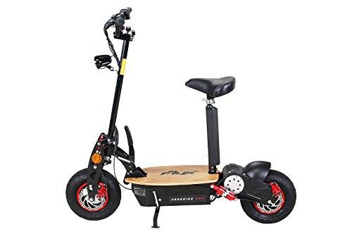 E-Scooter Roller Original E-Flux Freeride PRO 1600 Watt 48 V EXCLUSIV EDITION mit Licht und Freilauf 13×5-6 Reifen Extra groß Holztrittbrett Elektroroller E-Roller