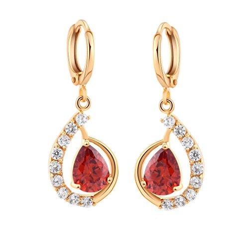 YAZILIND 18K elegantes Vergoldet plattiert Zirkonia Band Ohrringe Rot Charme baumeln Ohrringe für Frauen