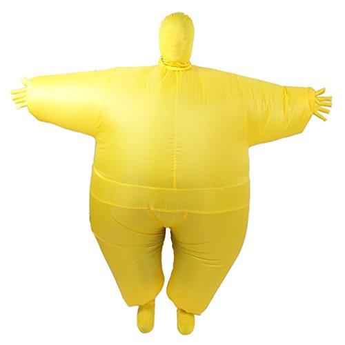 MagiDeal Erwachsene Döbel Anzug Aufblasbare Blow Up Ganzkörper Kostüm Fantasie Verkleidung - Gelb