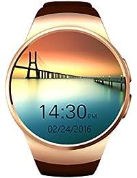 Elegant Bluetooth Smart Watch Teléfono Inteligente, 1.3 Pouces Reloj Inteligente con Pulsometro Integrado/ Pantalla Táctil/ Cámara Remota/ Monitor de Dormir/ Podómetro Para Android, IPhone IOS (Oro)