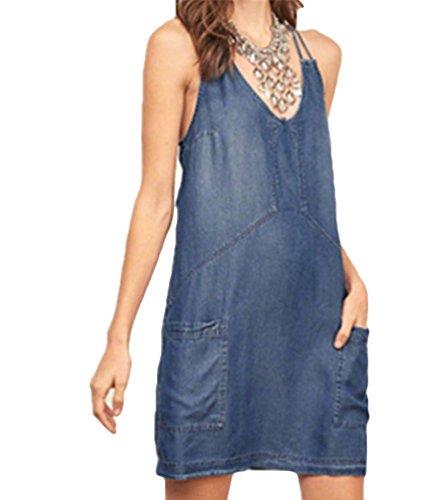 YOUJIA Damen Demin Kleid Sommer V-Ausschnitt Rückenfrei SunKleid Mini Rock mit Taschen (Denim, M) (Denim Mini-rock Tasche)