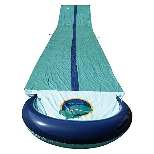SUMER Wasserrutsche zum Spielen im Garten: Rutsche für Rennen mit aufblasbarem Hochleistungs-Crashpad Wasserrutschenspray Sprinker Poolspielzeug