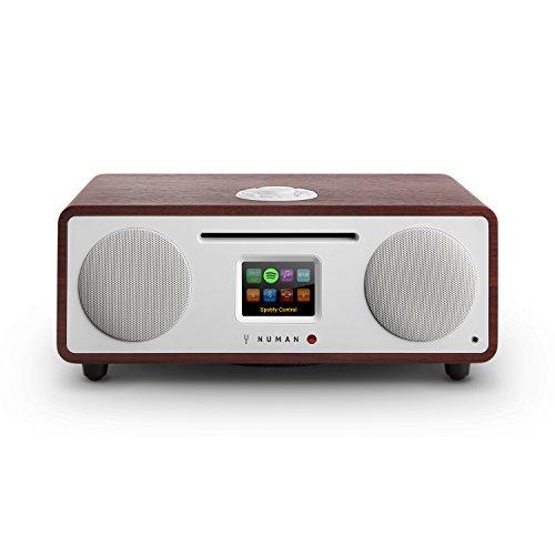 NUMAN Two 2.1 • Design Internet Radio • DAB / DAB+ / UKW-Tuner • CD • Spotify Connect • TFT-Display • RDS • Wi-Fi / LAN-Konnektivität • Bluetooth • AUX • 2 Breitbandlautsprecher • Radiowecker • wenge