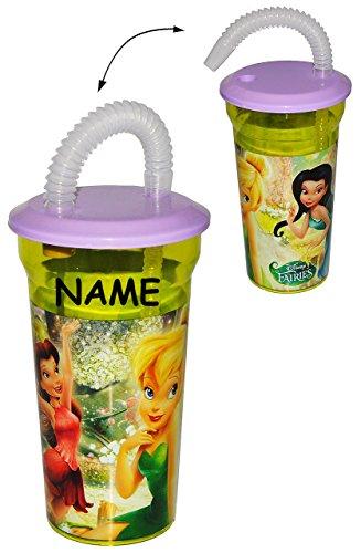 Disney Fairies - Trinkbecher - incl. Namen - mit Strohhalm + Deckel & mit Insekten Schutz - Sommer Bienen für Kinder Kunststoff Kunststoffbecher - Fairy Tinkerbell / Mädchen - Sommerglas - Trinkhalmbecher - Strohhalmbecher