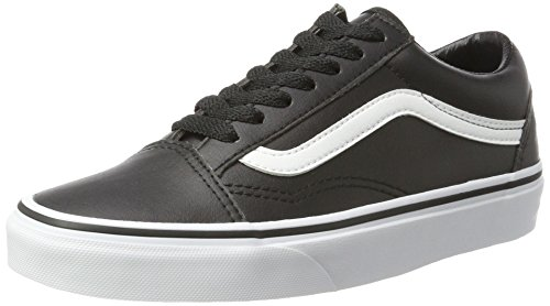 Vans Unisex Adults' Old Skool Leather Trainers, Black (Classic Tumble/ Black/True White),...