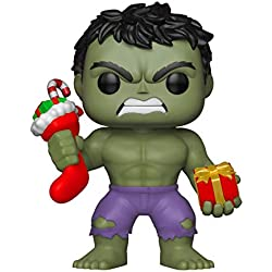 Funko – Pop.Color Marvel Color Holiday Hulk con Stocking & Peluche (Bobblehead),, 33984