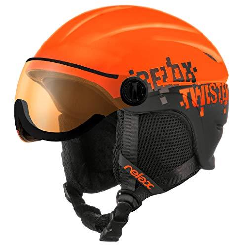 Relax Kinder Skihelm mit Visier | Snowboardhelm | Skihelmet | Race-Helm für Mädchen und Jungen (Neonrot/Schwarz, S (53-57cm))