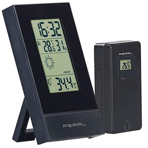 PEARL Funk Termometer: Digitale Wetterstation mit Außensensor, Prognose, Uhrzeit & Wecker (Digitales Thermometer)