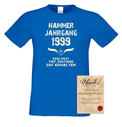 Geschenk zum 18. Geburtstag :-: Geschenkidee Herren kurzarm Geburtstags-Sprüche T-Shirt mit Jahreszahl :-: Hammer Jahrgang 1999 :-: Geburtstagsgeschenk Männer :-: Farbe: royal-blau Royal-Blau