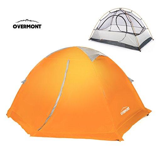 Overmont 1-2 Personen 4 Jahreszeiten Trekkingzelt Zelt Familienzelt Campingzelt für Camping Wandern Reisen und Klettern 210*130*110cm Orange/ Blau