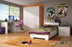 Chambre enfant complète contemporaine CLOTHILDE, coloris blanc Armoire 2 portes avec bureau