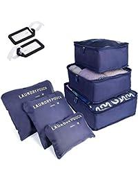 6 PCS Organizadores de Viaje para Maletas, Bolsas de Equipaje Impermeable Cubos Embalaje de Viaje Bolsas de Almacenamiento para Ropa Zapatos, Cosméticos Accesorios, Material Nylon