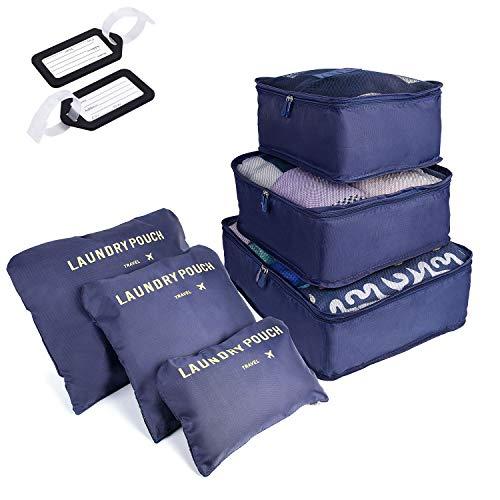 SHOLOV Organizer Valigie Impermeabili, Set da 6 Organizzatori da Viaggio, Organizzatore Valigia per Abbigliamento, Accessori Viaggio, 3 Cubi di Imballaggio + 3 Sacchetti per Indumenti (blu S)