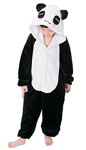 Panda Kostüme Jungen (Tuopuda Kinder Kigurumi Pyjamas Tier Schlafanzug Jumpsuit Nachtwäsche Unisex Cosplay Kostüm für Mädchen und Jungen Halloween Karneval Fasching (M = 100 - 110 cm height, Schwarzer)