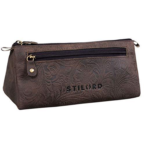 Stilord 'alexis' astuccio pelle vintage per penne grande portapenne con cerniera in cuoio portacolori per scuola, colore:canyon - marrone