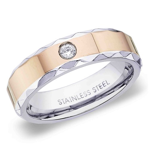 6 mm Peora Valentine IP Rose Gold Faceted Edge 316L Stainless Steel Ring Solitaire CZ Ring for Men (PSR172-8)