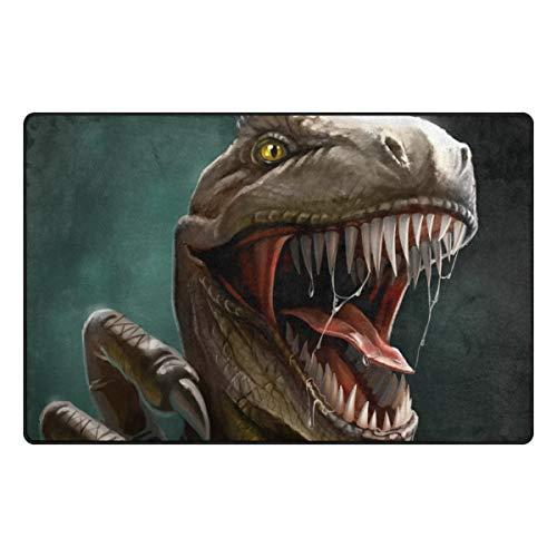 DEZIRO Dino Dangerous Dinosaurier Open Mouth Fußmatten für Hauseingangs-Bereich Teppich Fußmatte Teppich Schuhe Schaber, Rutschfest waschbar, Polyester, 1, 31 x 20 inch