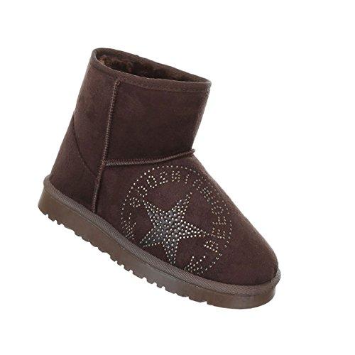 Damen Schuhe Boots Warm Gef眉tterte Stiefelettten Braun