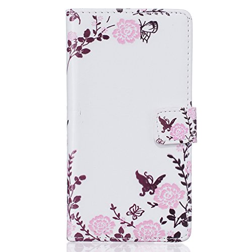 iPhone SE Hülle,iPhone 5S Case,iPhone 5 Cover - Felfy Flip Bookstyle Wallet Luxe Handyhülle Niedlich Farbe Muster mit Bling Diamant Strass Design PU Leather Stand Wallet Flip Lederhülle Case Cover Pou Der Garten