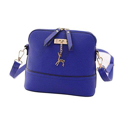 Loveso-Taschen Damen elegante Neuer Frauen-Kurier-Beutel-Weinlese -Kleine Shell-Leder-Handtasche Umhängetasche_Blau (Kurier-tasche Kleine)