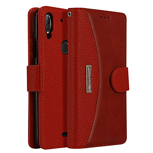 LOKAKA Leder Handyhülle für -Wiko View 2 Plus, Handyhülle Handystand Kartenfächern Luxuriöse Aussehen Leder Flip Cover Brieftasche Etui Schutzhülle für -Wiko View 2 Plus - Rot