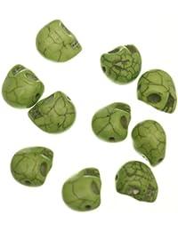 ILOVEDIY 10 mm verde turquesa artificial granos del cráneo de 20 piezas