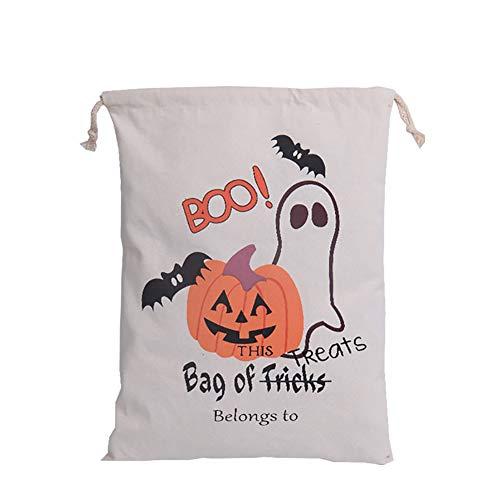 Packung mit 1 Halloween Taschen Trick Or Treat Beuter Kordelzug Geschenk Säcke Kürbis-Beutel für Halloween-Geschenke-S05
