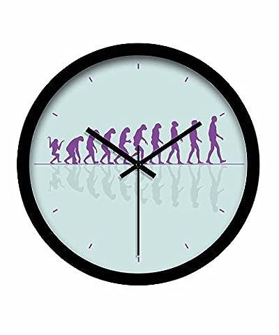 Quietness @ Moderne Horloge murale créative silencieuse et colorée créative L'histoire de l'évolution /12 pouces/ cyan